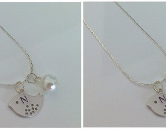 2 Flower girl initial little bird and pearl necklaces
