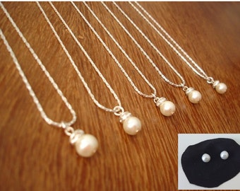 7 Bridesmaids Gift Necklace and Pearl Studs - Simple & Elegant Bridesmaid gifts