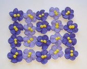 LOT of 100 Royal Icing Violets for Cake Decorating