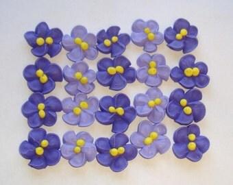 LOT of 100 Royal Icing Violets for Cake Decorating