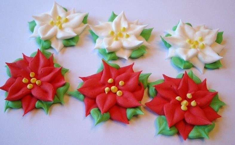 LOT of 50 Royal Icing Poinsettia Sugar Flowers for Cake