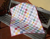 FREE SHIPPING - Squares baby quilt reproduction fabrics