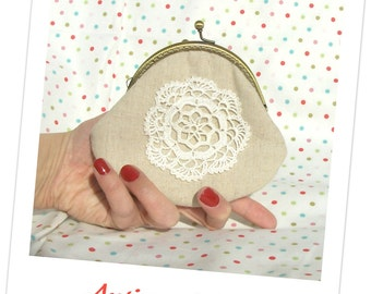 Antique doily clutch