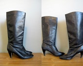 Black Knee High Boots Vintage 1980s Leather Heel 7.5