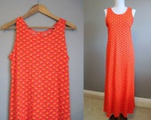 Maxi Dress Vintage Floral Red Orange Sleeveless 1970s Medium