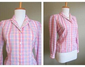 Plaid Shirt Vintage Pink Purple Blouse 1980s Medium