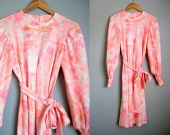 1960s Dress Vintage Peach Pink Sash Belt Medium
