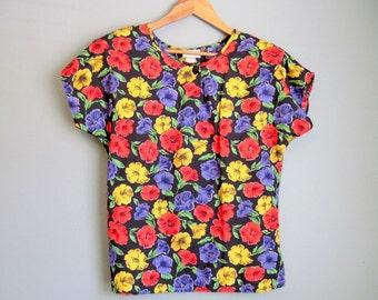 Dolman Floral Blouse Vintage Shirt 1980s Medium Large
