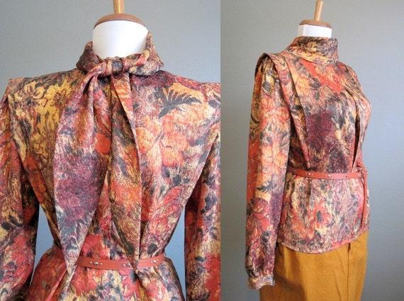 Autumn Blouse Vintage Orange Bow Tie Sash Medium