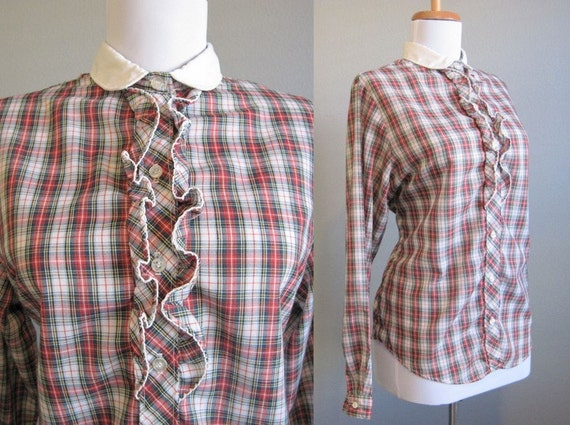 Plaid Shirt Vintage Ruffle Red Green 70s Medium