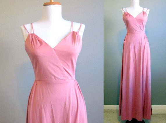 Maxi Dress Vintage Pink Prom 1970s Grecian Formal XS