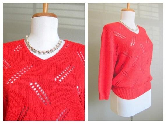 Christmas Red Sweater Vintage Eyelet Three Quarter Sleeve Medium