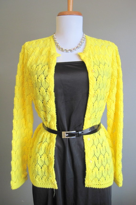 1950s Bright Yellow Lace Cardigan Sweater Large From In The