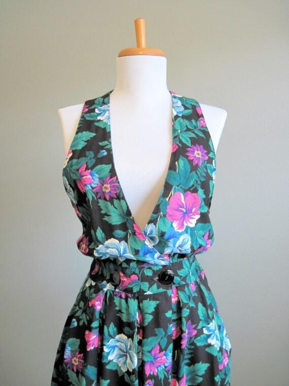 Sundress Vintage Floral Dress Vneck Sleeveless 1980s Medium