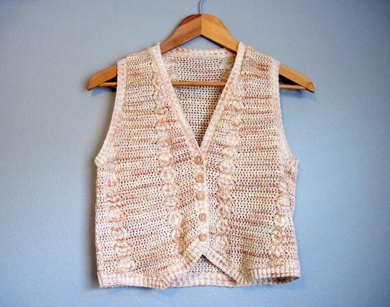 Sweater Vest Vintage Hippie Tan Boho Small Medium
