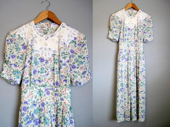 Vintage Floral Dress Lace Garden Tea Party 1980s Small