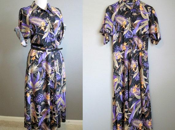 Vintage Floral Dress Shirtwaist Purple Black Hawaiian Large