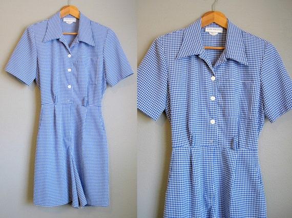 Vintage Romper Gingham Check Shorts Blue White 1980s Medium