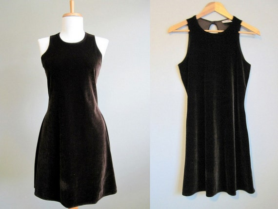 Velvet Party Dress Vintage Chocolate Brown Holiday Mini Grunge Small