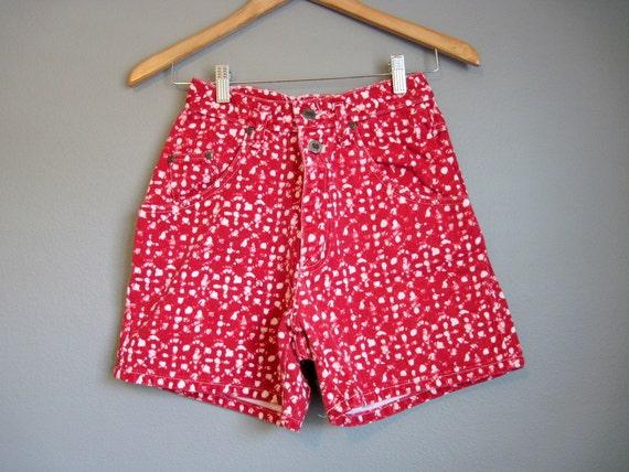 Red Jean Shorts High Waist Vintage Denim Tie Dye Print Small