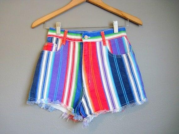 Jean Shorts Cut Offs Rainbow Stripe Vintage Denim High Waist XS Small