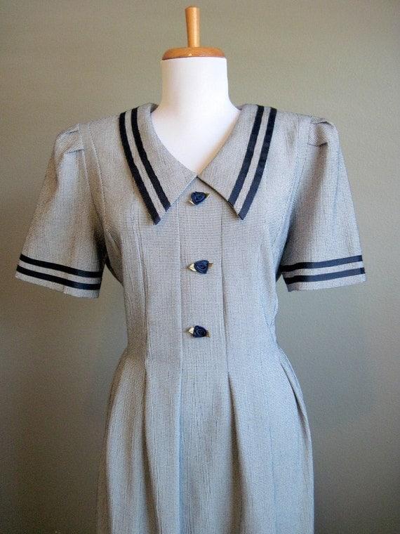 Sailor Dress Vintage Navy Blue Collar White Houndstooth Large