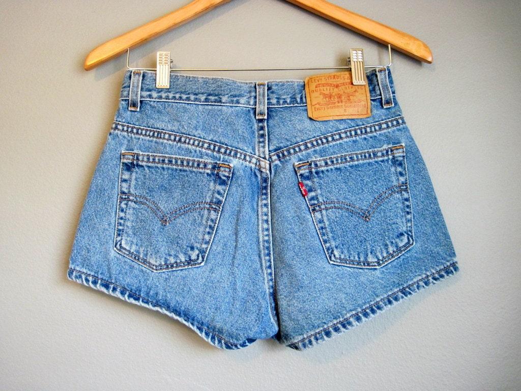 high waisted jean shorts levis vintage denim small. Black Bedroom Furniture Sets. Home Design Ideas