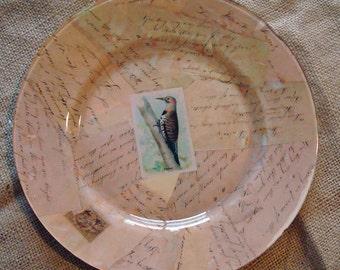 Glass plate vintage script - decopauge plate - vintage card images