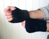 Handmade...Knit Fingerless glove dark blue for men