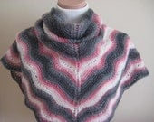 Pink, Ivory, Gray Shawl - Warm Shiny Triangle - Neckwarmer, Scarf, Cowl - GIFT for Her - Ready to Ship