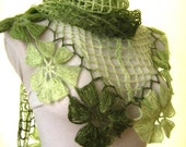 Green Shawl - Crochet Shawl Floral Flower Triangle Accessories Scarf - Gift for Her, for Mom - Ready for Shipping