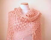 Shiny Blush Powder Pink 3D Shawl - Girly, Dusty Rose, Pale Pink Scarf Cowl - GIFT for HER