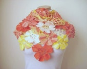 Red, Pink, Yellow and White Flower Shawl - Floral Scarf - Gift for Her