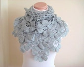 Floral Gray Shawl - Grey Flower Triangle Cowl, Neckwarmer - Gift for Her - Crochet Shawl
