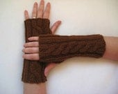 Autumn Fashion - Brown Unisex Gloves, Armwarmers - Fingerless, Cable Knitting - Gift for Her, for Him, for Father - Ready to Ship