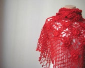 Red Fashion - Floral Red Shawl - Garnet Shiny Flowers, Daisies Triangle Scarf - Gift for Her - Ready to Ship