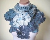 Denim Blue Shawl - Blue, White and Navy Flower Floral Shiny Triangle Cowl - Gift for Her
