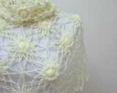 Bridal Ivory Shawl - Shiny Cream Flower Triangle Wedding Accessories - Gift for Her - Lace Fashion