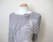 Grey, Gray Shiny Shawl, Poncho, Capelet, Stole - Gift for Her