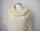 Cream Shawl - Shiny Rectangular Ivory Crochet Shawl - GIFT for HER