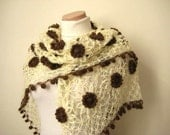 Ivory and Brown Shawl - Shiny Cream and Brown Flower Triangle Accessories - Gift for Her - Fall Fashion