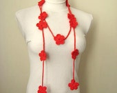 Red Fashion - RED BLOSSOM Scarflette - Garnet BLOOM Crochet Necklace, Scarf, Belt, Lariat - Gift for Her