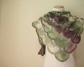 Crochet Shawl - Green, Purple Plum and Ivory Wrap, Warm Sea Shell Capelet, Cowl - Gift for Her - Ready to Ship