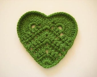 Heart Fashion - Crochet Drink Coasters - Green Set of 2 Hearts - Ready for Shipping - Gift for Her, for Mom
