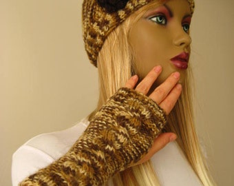 Fall Knit Fashion - Brown Hat & Gloves Set - Autumn Color of Brown Cable Beret and Fingerless Gloves - Gift for Her - Ready for Shipping