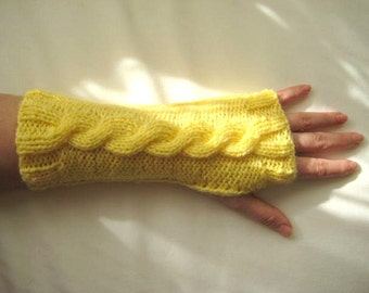 Light Yellow Gloves, Armwarmers - Fingerless, Cable Knitting - Gift for Her - READY FOR SHIPPING