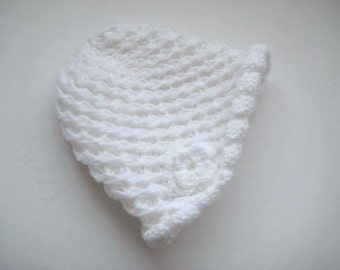 Winter Accessories - White Hand Knitting HAT, BEANIE, BERET with Flower - Ready to Ship - Gift for Her