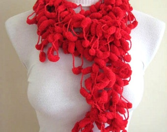 Red Fashion - Red Pompom Scarf, Curly Long Neckwarmer, Cowl, Necktie - Cocoon, Mulberry Yarn - GIFT for HER - Ready to Ship
