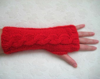 Red Fashion - Winter Mittens - Red Gloves, Armwarmers - Fingerless, Cable Knitting - Gift for Her - Ready for Shipping