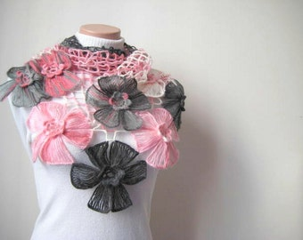 Gray Pink Shawl - Pink, White and Gray Flower Shawl - Gift for Her - Ready to Ship